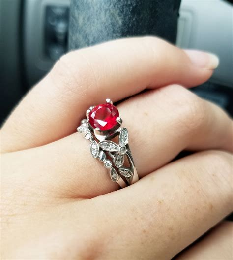new member my vintage ruby and engagement ring