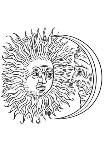 vintage sun  moon coloring page  printable coloring pages