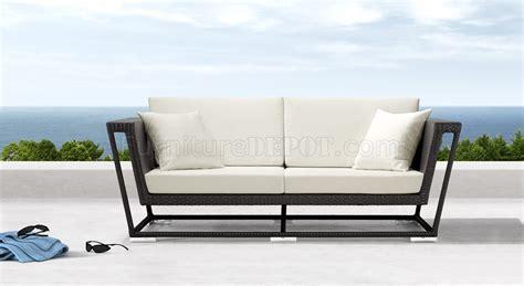 modern outdoor loveseat black weave modern outdoor patio sofa w white cushions