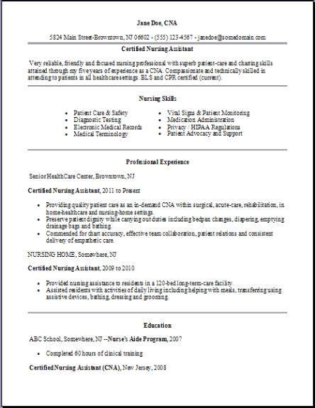 certified nursing assistant resumeexamplessamples
