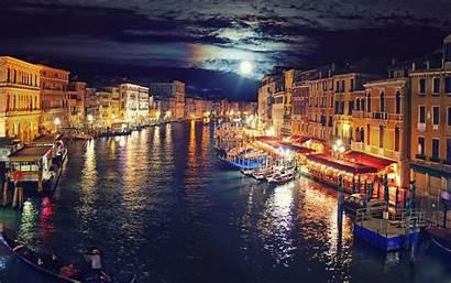 Italy Venice Gondolas Moon Canal Cityscape Lights