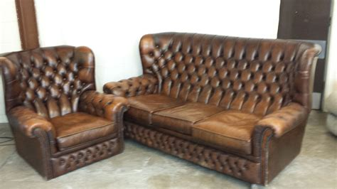 brown leather highback chesterfield 3 seat sofa and chair