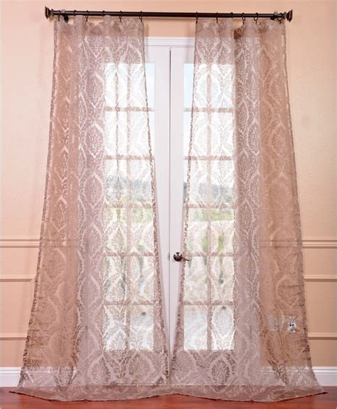 loretta taupe damask sheer curtain panel contemporary