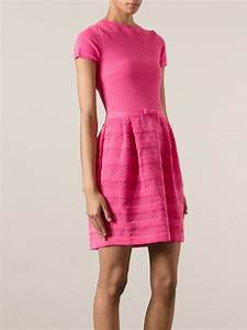 Lyst - Red Valentino Short Sleeve Knit Dress in Pink