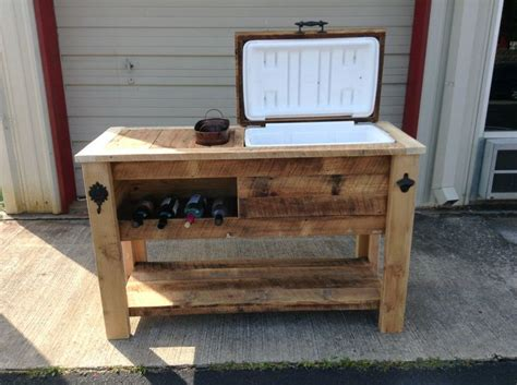 barn wood cooler table with wine chill and notched