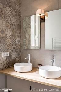 idee decoration salle de bain double vasque et carreaux With idee pour salle de bain