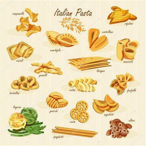 poster set of pasta with different types of pasta fusilli spaghetti gomiti rigati farfalle