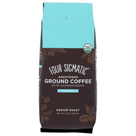 100% organic instant coffee provides 50mg of caffeine as well as antioxidant properties. Four Sigmatic - Ground Coffee with Ashwagandha, 12 oz $22.99 - PlantX