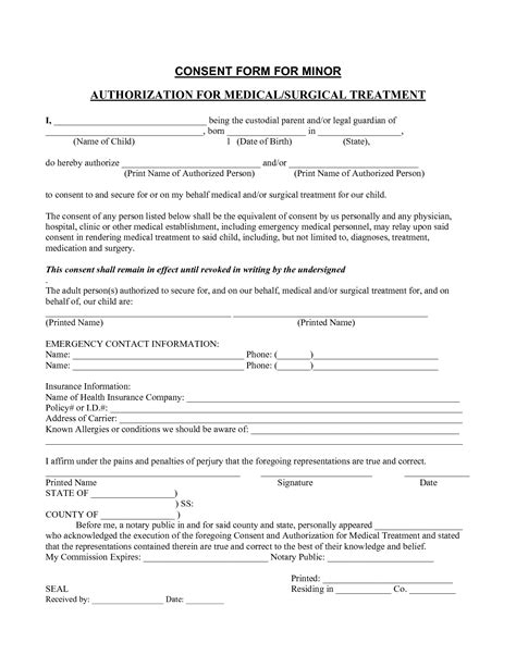 medical consent form template templates free printable