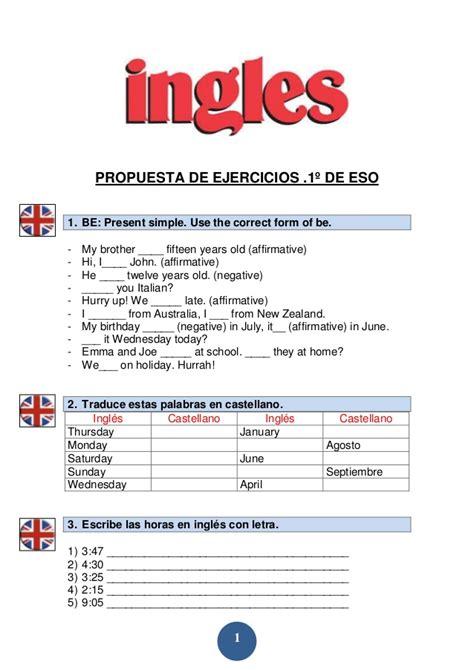 Modelos De Ejercicios De Inglés
