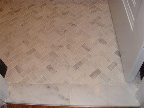 Marble Herringbone Bathroom Floor Tile Ideas