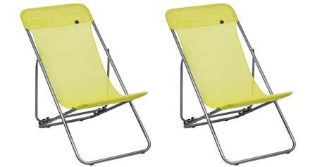 lot de 2 chaises longues pliantes lafuma transatube