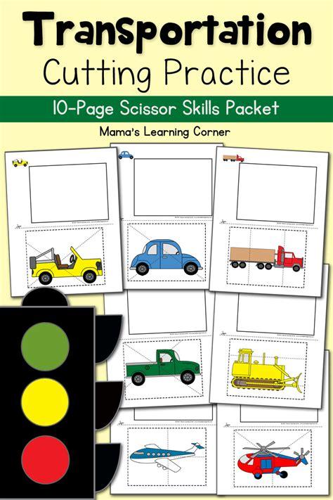 cutting practice worksheets transportation mamas 153 | Transportation Cutting Practice