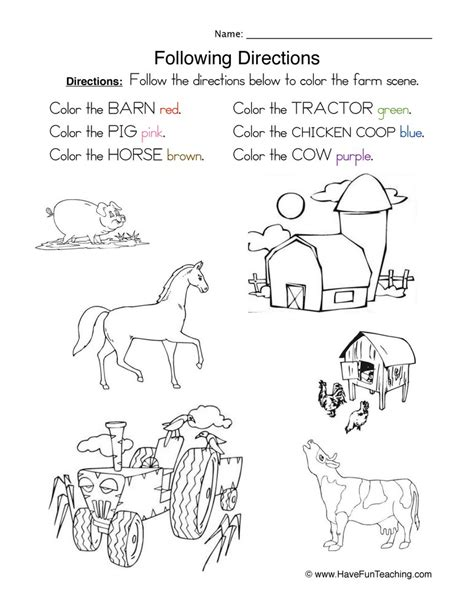 Following Directions Worksheet  Coloring  Have Fun Teaching