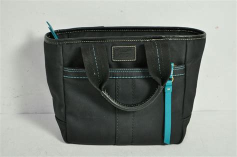 Coach Black Teal Accented Over The Wrist Tote Bag Purse