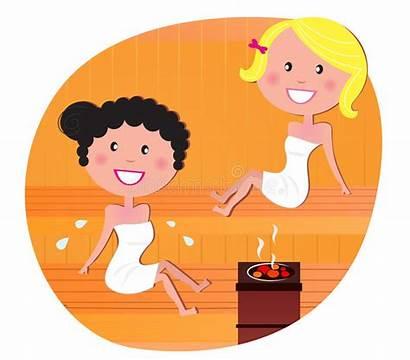 Sauna Relaxing Friends Vector Clinic