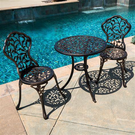 Bistro Patio Furniture by 3pc Bistro Set In Antique Outdoor Patio Furniture Leaf