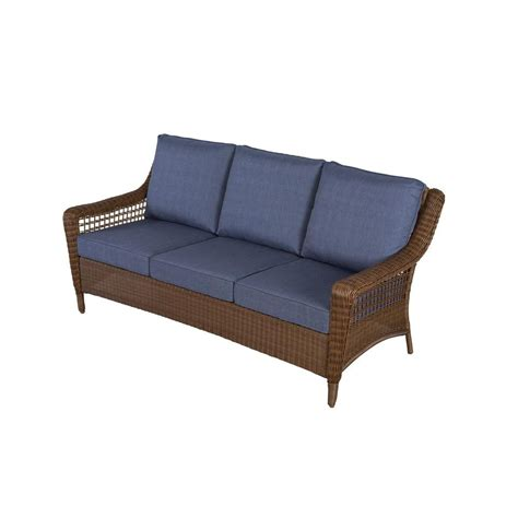 sofa with spring cushions hton bay chairs spring haven brown all weather wicker