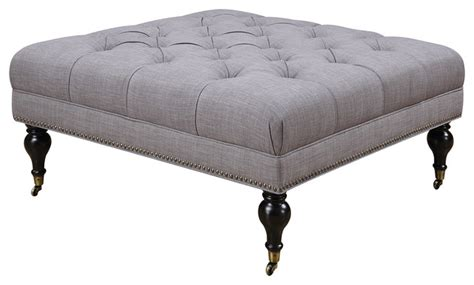 square ottoman with casters gray fabric tufted square ottoman with casters nailhead