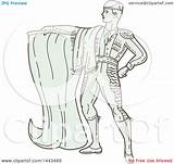 Matador Line Spanish Cape Illustration Mono Clipart Royalty Styled Holding Patrimonio Vector Clip sketch template