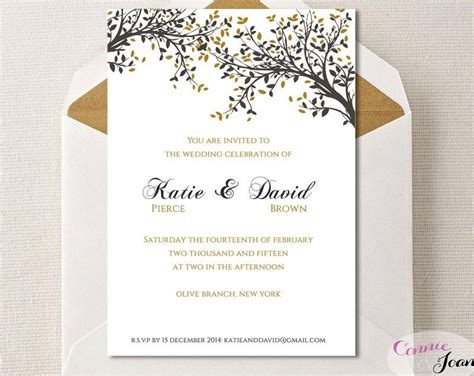DIY Printable Wedding Invitation Template Black Gold