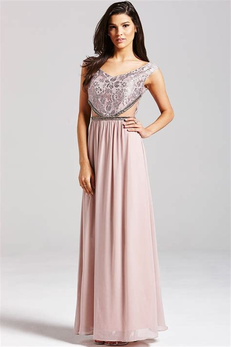 Maxi Lace mink embellished lace maxi dress from uk