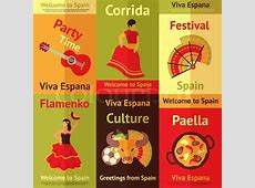 Spain travel spanish culture vacation retro posters set