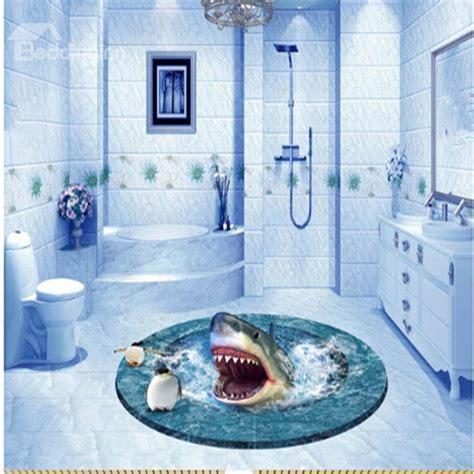 Round Creative Shark in a Hole Bathroom Decoration