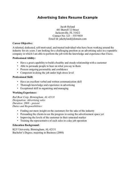 advertising sales resume exle resume objectives for