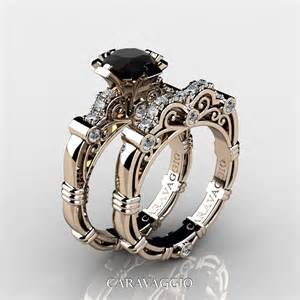 black wedding ring sets masters caravaggio 14k gold 1 0 ct black and white engagement ring wedding band