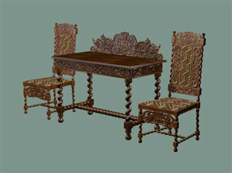 antique chinese reception table  chairs  model