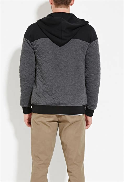 quilted hoodie mens forever 21 zip up quilted hoodie in gray for lyst