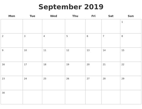 september  blank calendar pages