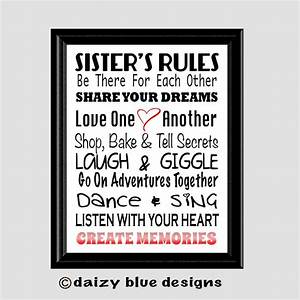 sister39s rules subway art girls room decor teen room With 3 basic rules in teenage bedroom ideas