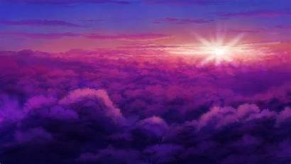 Anime Sunset Clouds Landscape Purple Sky Wallpapers