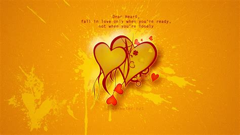 Heart For Birthday On Orange Background Wallpapers And