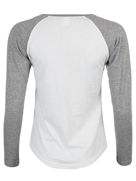 white heather grey ladies long sleeve baseball  shirt