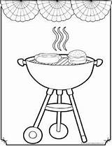 July 4th Coloring Pages Grilling Sheet Fourth Happy Cupcake sketch template