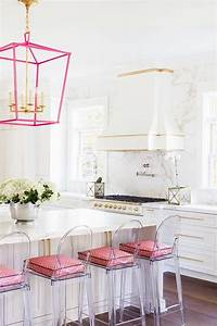 white kitchen island with pink lanterns contemporary With what kind of paint to use on kitchen cabinets for pink marble wall art