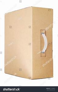 Cardboard Box With A Handle For Laptop Stock Photo