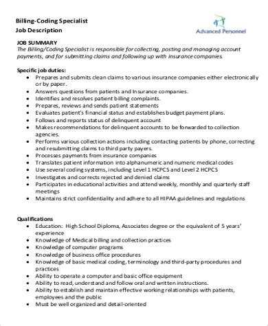 medical billing coding job description medical coding job description sample 9 examples in