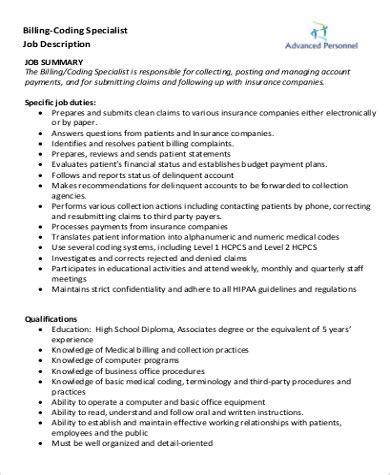medical coding job description sample  examples