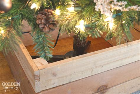how to make a christmas tree stand diy rustic tree stand box the golden sycamore