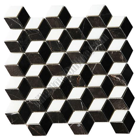 illusion marble mosaic tile 3d step cube pattern mosaic