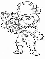 Coloring Pirate Pages Dora Cartoon Explorer Popular Coloringhome sketch template