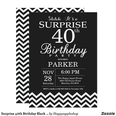Surprise 40th Birthday Black and White Chevron Invitation