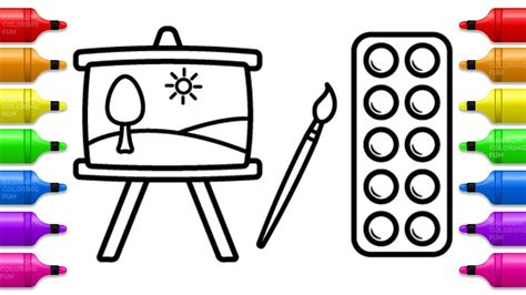 painting set coloring book  kids learn colors