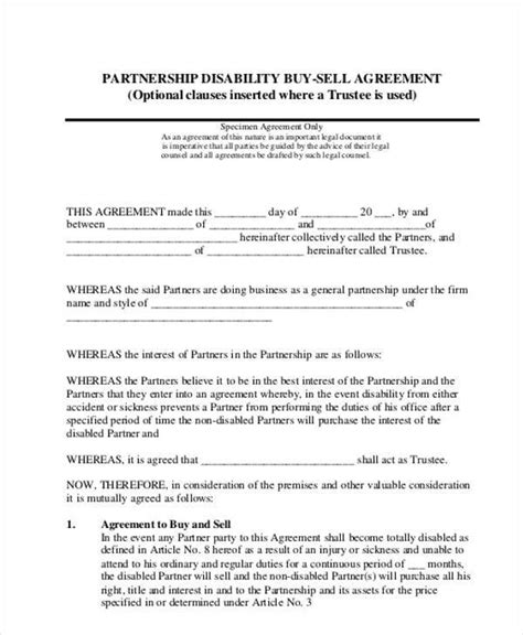 buy sell agreement template 11 partnership agreement form sles free sle exle format