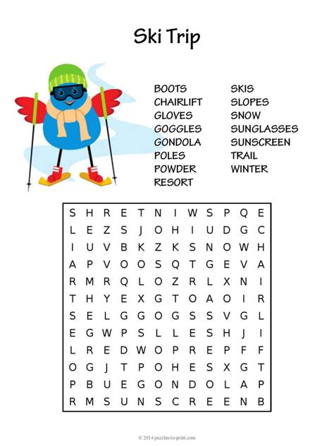 Free Halloween Brain Teasers Printable by Ski Trip Word Search