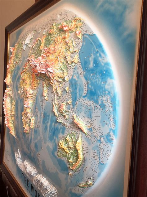 3D raised relief map of the World - £210.00 ...